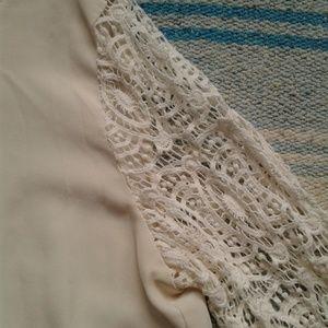 LOFT Tops - Loft Shirt Blouse Lace Sleeves Cream White Medium